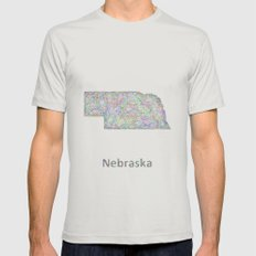 Nebraska Map Mens Fitted Tee Silver SMALL