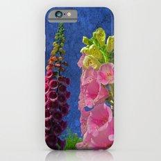 Two Foxglove flowers with textured background iPhone 6 Slim Case
