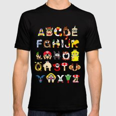 Super Mario Alphabet Mens Fitted Tee Black SMALL