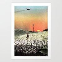 Sheep Flights For The Hu… Art Print