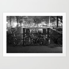 Bike's on the bridge Art Print