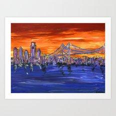 Ben Franklin Bridge Sunset Art Print