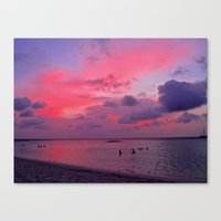 Swimming Towards Sundown Canvas Print