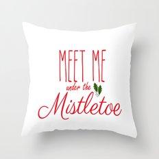 Meet Me Under The Mistletoe Red Throw Pillow