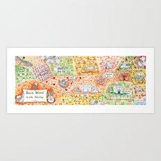 Sauvie Island Bike Loop Map Art Print