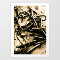 Chains in the garden sand Art Print
