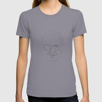 One Line Stan Lee Womens Fitted Tee Slate SMALL