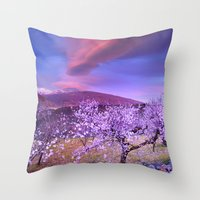 Lenticular clouds over Sierra Nevada and almonds Throw Pillow