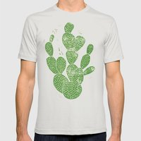 Linocut Cacti #1 Mens Fitted Tee Silver SMALL