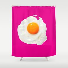 Sunny Side Up Egg on Hot Pink Shower Curtain