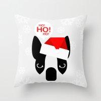 Santa Boston Terrier Throw Pillow