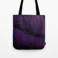 Red stripes on bold blue illustration. Tote Bag