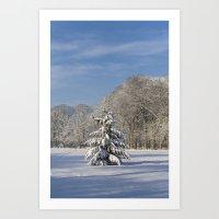Snowy Christmas Tree Art Print
