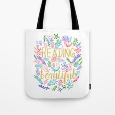 Reading is Beautiful - Gold Foil - White Tote Bag