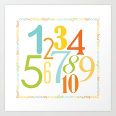 Numbers Square - Sandbox colorway Art Print