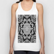 Mandala: Black Gray White Flower Unisex Tank Top