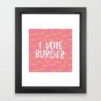 I Vote Burger Framed Art Print