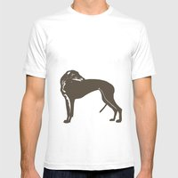 Greyhound Dog Mens Fitted Tee White SMALL