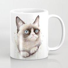 Grumpy Watercolor Cat Mug