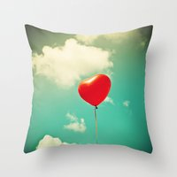 Red Heart Balloon In A V… Throw Pillow