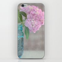 Pink Hydrangea In Blue J… iPhone & iPod Skin