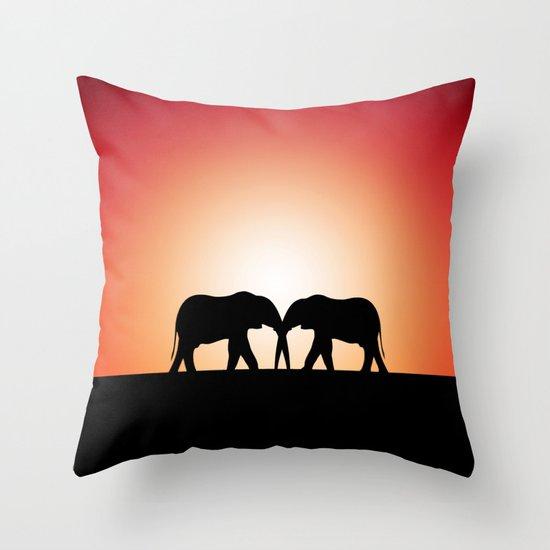 Elephant Sunset Throw Pillow