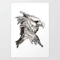 Hawk profile  Art Print