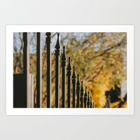 Iron Fence, Yellow Leave… Art Print