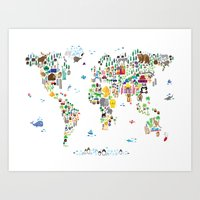 Animal Map Of The World … Art Print