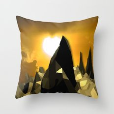 Gold Mountains Throw Pillow