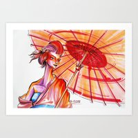 japanese Art Prints featuring Japanese by Cemile Demir Uzunoglu