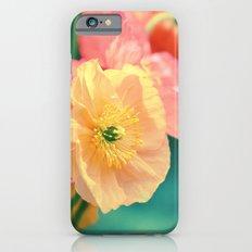 Vintage Pastel Poppies in Golden & Peach tones iPhone 6 Slim Case