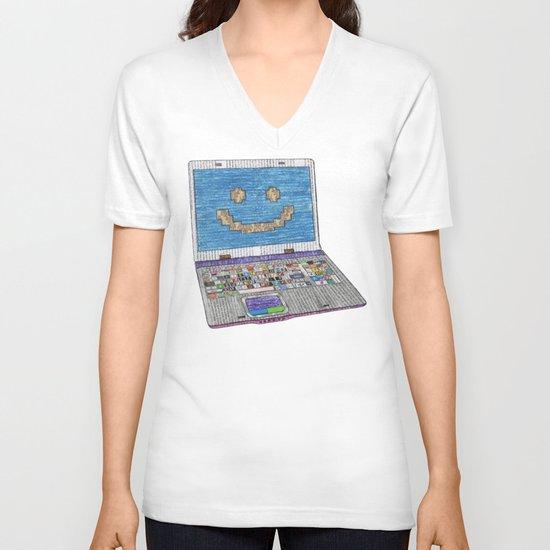 press WIN V-neck T-shirt