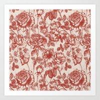 Toile de jouy (Roses) Art Print