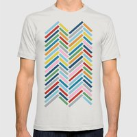 Herringbone Colour Zoom Mens Fitted Tee Silver SMALL