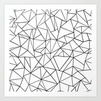 Abstract Outline Black on White Art Print