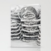 Plant Cages In The Snow Stationery Cards