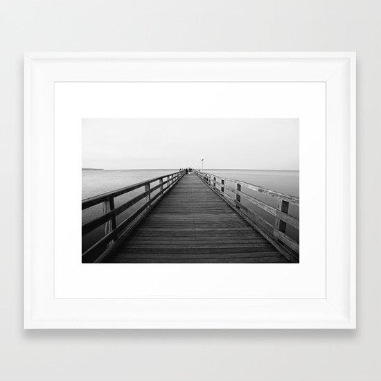 Pier photo in black and white 2 Framed Art Print