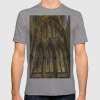 Rochester Cathedral Stained Glass Windows Art Mens Fitted Tee Athletic Grey SMALL