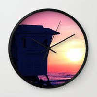 Mission Beach Sunset Wall Clock