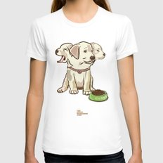 Cerberus Puppy Womens Fitted Tee White SMALL