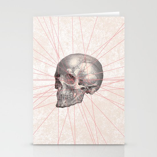 Abstract Gray Vintage Skull Modern Pink Stripes Stationery Card