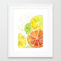 Fruit Watercolor Framed Art Print