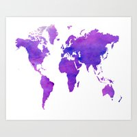 Purple Map Art Print