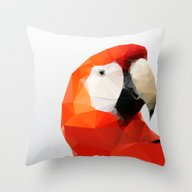 Throw Pillow featuring Geo - Parrot Red by Three Of The Possess…