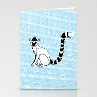 Stationery Card featuring Lemur Animal on  blue pattern by ialbert