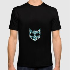Turquoise Cat Black SMALL Mens Fitted Tee