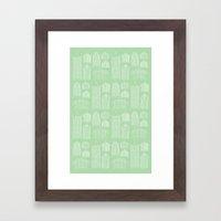 Birdcages (Green) Framed Art Print