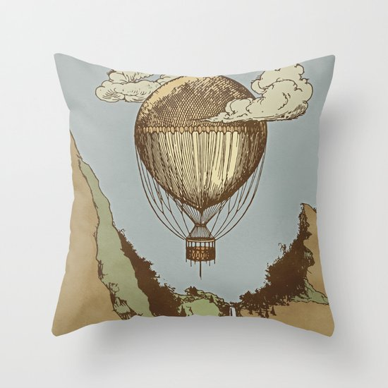 Around the world the incredible Steamballoon Throw Pillow