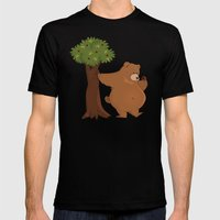 Bear and Madrono Mens Fitted Tee Black SMALL